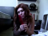 EXGF whore Daphney playing with a large red dildo on the floor